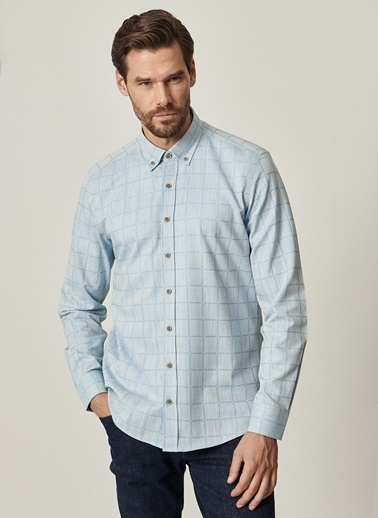 AC&Co / Altınyıldız Classics Tailored Slim Fit Dar Kesim Düğmeli Yaka %100 Koton Kareli Gömlek 4A2021100091 Mavi